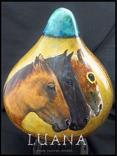 Tres Amigos Hand Painted Gourd by Luana by LuanasPaintedGourds, $250.00