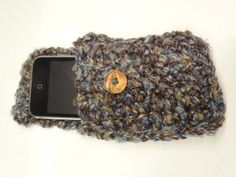 i Phone 4 Cover Hand Crocheted Grey Brown and by ToppyToppyKnits, $12.00
