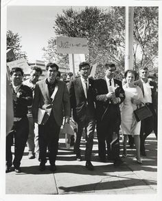"""""""Justice Not War,""""  circa 1960s. This image of a Latino group protesting the Vietnam War made its way into the personal papers of Julian Nava.  Latino Cultural Heritage Digital Archives."""