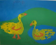 footprint art, duck, hand prints, baby animals, hand art