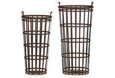 """S/2 Assorted Tall Metal Baskets. Small: 11""""L x 24""""H / Large: 14""""L x 28""""H OneKingsLane.com ($150.00)  $72.00"""