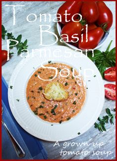 TOMATO BASIL PARMESAN BISQUE~ I have this cooking in the crockpot now!