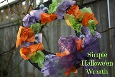 Simple Halloween tissue paper wreath / happy hooligans