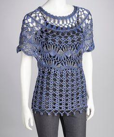 Blue Crocheted Cape-Sleeve Top