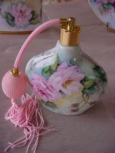 Hand Painted Roses on a Porcelain Perfume Atomizer - ( LARGE PHOTO )