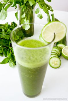 The Healthy Green drink smoothie recipe: the ultimate green drink with green apple, lime, watercress, mint, cucumber and banana.