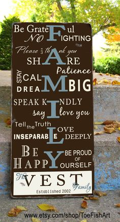 FAMILY RULES- Customize with your name and date - Typography Word Art Sign on wood- Distressed