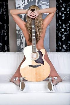 """My husband is a guitarist & musician...maybe something """"like"""" this. Super hot rock n roll guitar music boudoir photo idea"""