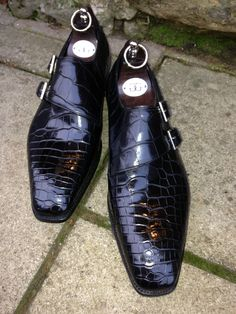 Bespoke England: Oakham Double-monks in Black Alligator.