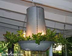 Turkey feeder to a porch chandelier! Very kitschy and would be cute on a farmhouse porch! dinner, turkey feeder, patio idea, light design, bird feeders, vintage homes, porches, garden, chicken feeders
