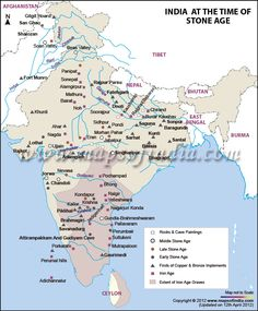 Map of Stone Age in India stone age, map data, histori map