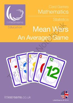 Mean Wars - Averages Game from LittleStreams on TeachersNotebook.com -  (11 pages)  - Averages card game for practising Mean, Median, Mode and Range.