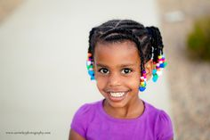 Beads, Braids and Beyond: Little Girls Natural Hair Style: Flat Twist Ponytails with Twisted Bangs & Rainbow Beads