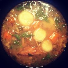 Immunity boost: roasted turkey soup with fresh sliced ginger and dill