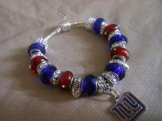 NY Giants Handcrafted European Bracelet