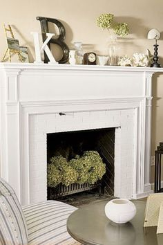 Love the mantle decor and fireplace hydrangeas- for my very old fireplace that I don't dare burn in :)