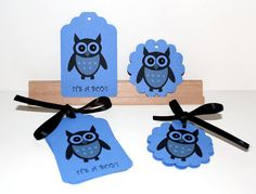 Blue Owl Gift Tags  Printed It's A Boy  12 Tags  by Booksonblocks, $3.00