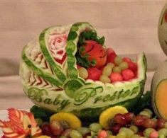 26 Awesome Baby Shower Fruit Carving    #Planning