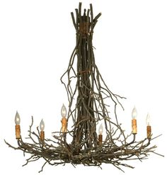 Twigs Rustic Six Light Chandelier