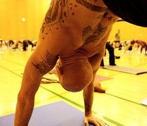 Tattoos + yoga = SEXY masculine-creatures Check Out http://zombieboy.ca For Best Tattoos Images Ever!