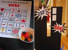 superhero BINGO superhero bingo, birthday parties, superhero parti, superhero party, superhero game, parti idea