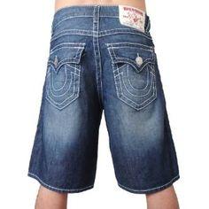 TRUE RELIGION Newport Medium Wash Mens Jean Shorts (Apparel)