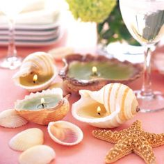 Make seashell candles for a warm beachy glow at night.   #seashells #shells #candles #shellcrafts