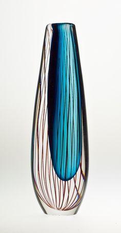 1960s Lindstrand Kosta off-centre sommerso vase with vertical lines