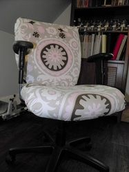 Re-covered office chair for studio...