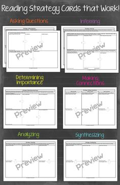 Predicting, Inferring, Synthesizing, Determining Importance, Making Connections, Questioning.  A strategy card for each!
