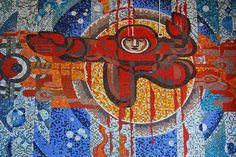 cosmonaut mosaic at ulan-ude airport
