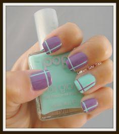 mint green, color combos, spring colors, polish nails, nail designs, sister polish, nail arts, tape, stripe