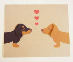 Teriyaki and BBQ the Dachshunds Valentine's Day Heart by Cuore, $4.75