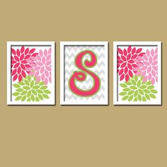 Pink Green Grey Monogram Flower Burst Letter Initial Set of 3 Trio Prints Chevron Wall Decor Abstract Art Bedroom Picture Nursery