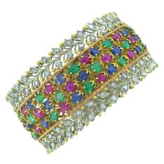BUCCELLATI  Gold Emerald Sapphire Ruby Diamond Bangle Bracele