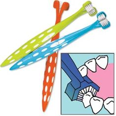 Sonic toothbrush cleans all three sides of teeth plus the gum line.