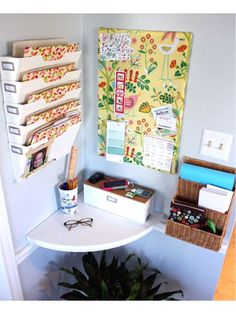 Haute Home Hubs: Ideas for Creating a Family Command Center command centers, corner desk, offic, kitchen corner, nook, organization solutions, small spaces, corner shelves, drop zone