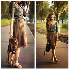 Darya Bokova - Reserved Skirt, Ecco Shoes, Mango Top, Pandora Bracelet, Mango Belt - Bronze august
