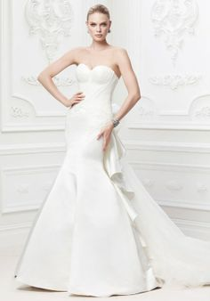 Strapless duchess satin fit & flare gown with veiled tulle bodice | ZP345004 from Truly Zac Posen at David's Bridal