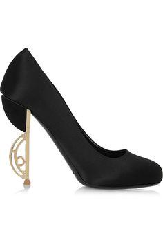 """Shoe du Jour"" 11.06.14 Nicholas Kirkwood ""Lunette"" Black Satin & Gold Curved Heel Pumps « Shoefessional"