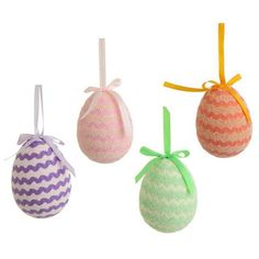 "RAZ Easter Egg Ornament Set of 4  4 Assorted Colors Set includes one of each color Made of Polyfoam, Paper Measures 4"" RAZ Exclusive design from the Happy Easter Collection  #trendytree #raz #easter"
