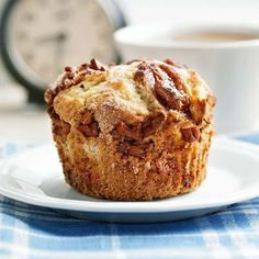 Caramel-Banana Muffins: Sugar-topped banana slices caramelize as they bake on top of tender breakfast muffins. Serve drizzled with extra caramel topping if you like!