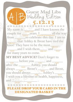 Mad Lib Guest book/wedding advice cards