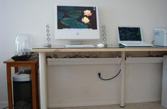 Sean's DIY project of using a rain gutter to hold all the wires under the computer desk. He put one under our TV table too. Ideas, Rain Gutter, Organizations, Computers Desks, Cable Management, Raingutter, Cords, Diy Projects, The Wire