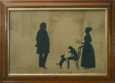 Antique Conversation Silhouette by Edouart of Musical Dogs