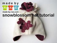 DIY Hats: DIY hat snowblossom hat, sew, tutorials, craft, hat tutori, fleece hats, fleec hat, kid, winter hats