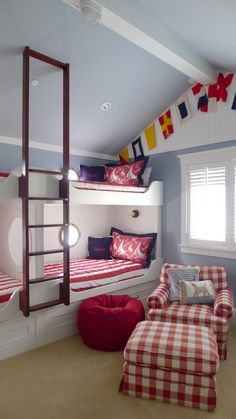 Nautical Bunk room featured on the Newport Harbor Home Tour nautical bunkroom, nautical home, beach hous, bunk rooms, bunk bed, newport beach, kid room, coastal influenc, bedroom