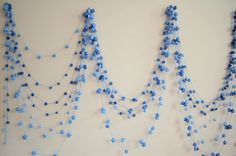 ombre, paper garlands, paper stars, idea, craft, blue, star garland, wedding colors, origami