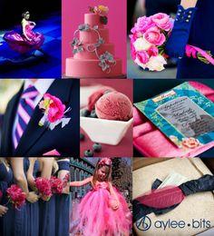 inspiration for flowers for a Fuschia/Navy Blue wedding