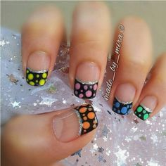 Multi-colored polka-dot French tip nails with silver underneath... this might be the cutest French tip I have ever seen!!
